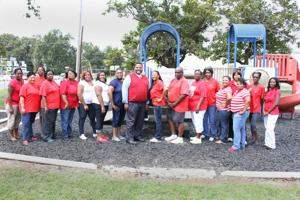<p>CONCORDIA HEAD Start Center Supervisor Justin Conner (center) along with teachers and staff led students in celebrating Head Start's 50<sup>th</sup> anniversary this month. The group also welcomed grandparents as a means to increase family involvement. (Photo by Rhett Powell)</p>