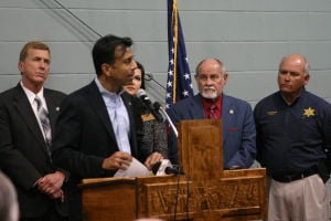 <p>From left to right: state Sen. Mike Walsworth, Gov. Bobby Jindal, state Sen. Bob Kostelka and Ouachita Parish Sheriff Jay Russell</p>
