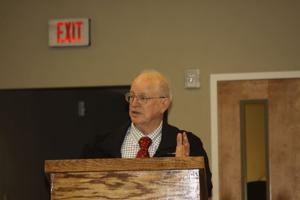 <p>Myles Hopkins, CPA, of Simmons Silas, LLP, gives his audit report to the Winnsboro City Council on Tuesday, Jan. 20. </p>