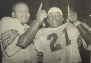<p>T.J. Wesley, left, shown with Chris Bobo. The pair led Crowville to a perfect 10-0 regular season in 1994. </p>