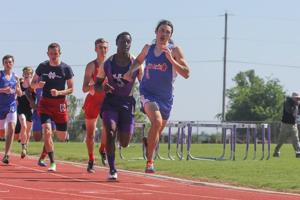<p>Jansen Nowellof West Ouachita surges ahead in the last leg of the 800m race in Benton last week.</p>