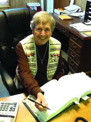 <p><strong>CLAYTON TOWN</strong> Clerk Sadie Jones, celebrating her 50th year on the job, still keeps the town books by hand. She'll celebrate her 88th birthday next month. (Photo by Barbara Jackson)</p>