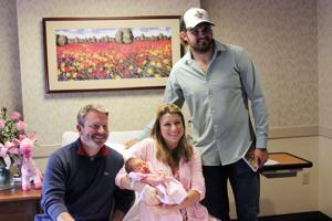 New Orleans Saints' Morstead visits newborns & families at St. Francis Medical Center