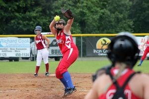 <p>West Monroe Dixie Belles All-Star pitcher winds up a pitch against the Minden All-Stars in the District 6 Belles All-Star Tournament on Saturday, June 27. </p>