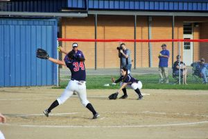 <p>Franklin Parish senior Kylie McMurray (34) gave up one run on three hits in the 1-0 loss to Vidalia on Saturday. </p>