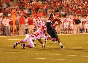 <p><strong>A WEST</strong> Monroe Rebel tries to pick up extra yardage against the Ruston Bearcats.</p>
