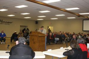 <p>John Tucker, a former Winnsboro City Councilman, speaks at the Council meeting on Monday night regarding alcohol sales on Sunday. </p>