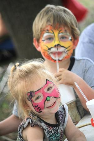 <p><strong>ATTENDEES AT</strong> the annual Jim Bowie Festival and State Championship BBQ Throwdown enjoyed food, fun and dance last weekend. Bryleigh Buckles and Jakob Mouille had their faces painted.</p>