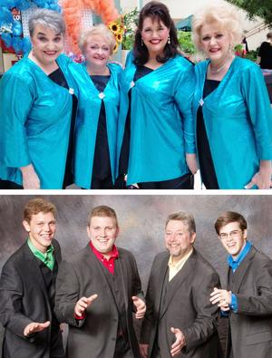 "<p><strong>RHAPSODY AND</strong> Harmonic Engineers quartets will perform on ""An A Cappella Christmas"" on Saturday, Dec. 6 at the Strauss Theatre, along with Piney Hills Harmony and Noteorious choruses. Rhapsody members are (top photo, from left) Judy Sisson, Carol Ogle, Sheila Nugent and Donna Fike.</p><p>Harmonic Engineers (bottom photo from left) are Phillip, Daniel and Grayson Zeagler and Caleb Harris.</p>"