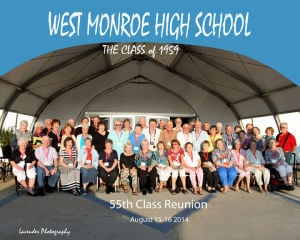 <p><strong>WEST MONROE</strong> High School class of 1959 had their 55th class reunion on Aug. 15 and Aug. 16. Seated left to right: Beth Leavie Beavers, Gene Haymer, Joanna Massey, Janie Wallace Dimond, Jay Foster Robert, Georgia Ann Roth Wolf, Linda Atkins Perry, Janice Becton Haugh, Jimmie Lee Bamburg Sanders, Sylvia Blazier, Linda Bledsoe Terrell, Patricia Weldon Chapman, Sally Parker Curry, Nancy Cash Thompson and Martha Beacon. Middle row left to right: Jywannia White Burgayne, Wanda Meauton Harris, Shirley Greer Hale, Amy Hood DeWees, Glenda Rogers Wilhite, Charlotte Guillory Rogers, Dr. Tommy Lolley, Glenda Young Howse, Duncan Hodges, Dr. Clyde Elliott, Thomas Dowdy, Berry Rogers, Frances Hearn Newman, Fred Frantom, Barbara Cloyd Emory, Charlotte Panbey Belweal, Mary Beth Rogers Weabe and Kelton Beacon. Back row seated left to right: Steve Powell, Billy Harris, Ronald Gooden, Robert Cannon, Frances Philips Methwin, Jae Ross, Ladell White, Dan Van Zile, Dr. Don Johnston, Harold Weir, Wynona Boatwright Sizemore, Carol Ann May Freeman, Freddie Hamel.</p>