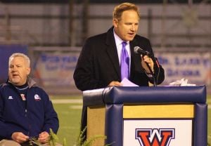 <p>LSU Coach Les Miles was on hand and reflected on some humorous moments with Coach Don Shows at the Memorial Service held at West Monroe's Rebel Stadium on Friday night.</p>