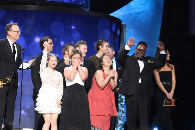 Cast of Born This Way on stage at the Emmy Awards