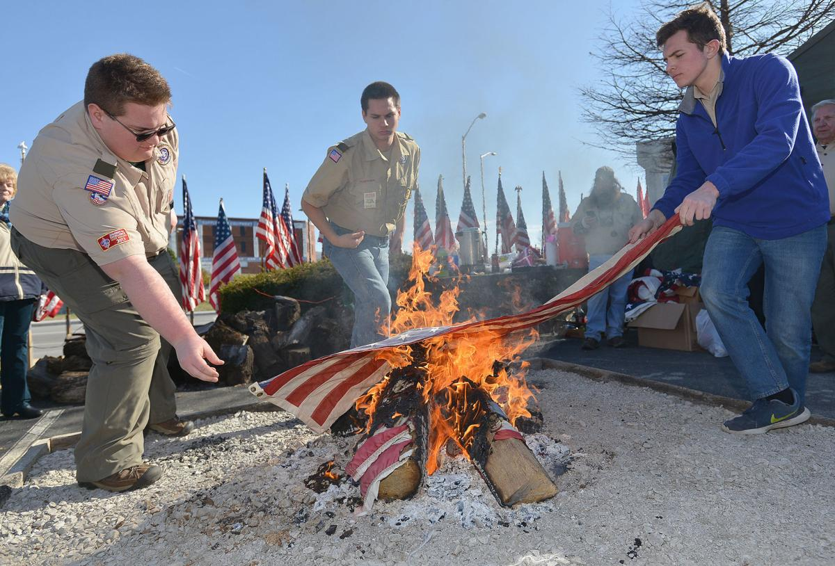 Boy Scouts retire flags during annual ceremony