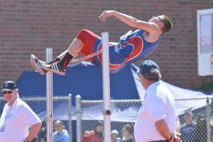 <p>John F. Brothers | Herald-Standard</p><p>Laurel Highlands' Chad Livingston clears the bar at 6-6, setting a personal best and tying for third place in the boys Class AAA high jump Saturday at the 2015 PIAA Track & Field Championships at Shippensburg University.</p>