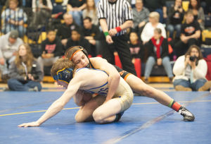 <p>Holly Tonini</p><p>Jefferson-Morgan's Gavin Teasdale wrestled Chestnut Ridge's Aaron Burkett for the championship in the PIAA Southwest Regional Championships. Teasdale won, 3-0.</p>