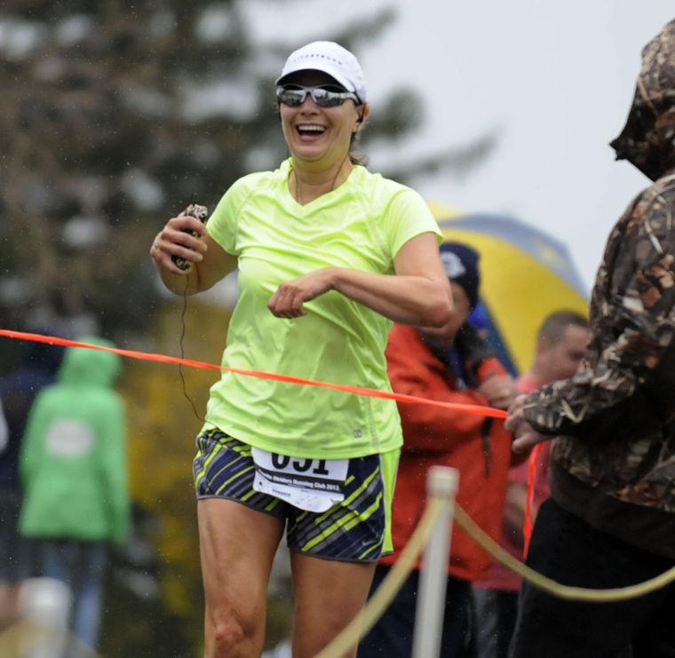 Lynn Huggins finishes as first female walker