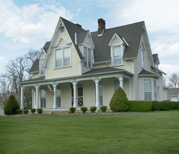 The gallery for gothic revival style house for Gothic revival farmhouse