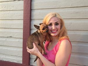 "<p>Diana Lasko|Herald-Standard</p><p>Elle Woods (Katelyn Reist of Point Breeze) and Bruiser (Calley) take Harvard by pink storm in Mon River Arts production of ""Legally Blonde the Musical"" at the Grande Theatre in Elizabeth May 6-8 and 13-15.</p>"