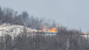 Gas well burns in Greene County
