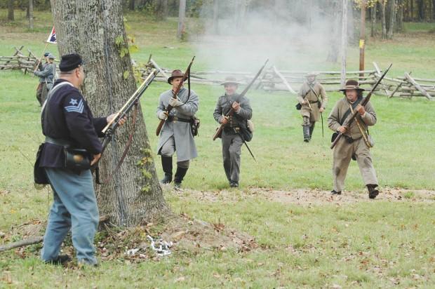 Rebels prepare to capture Yankee soldier.