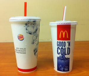 Medium Drink from Burger King and Mc Donalds