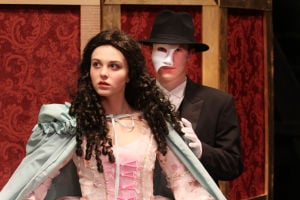 "<p>Maggie Miller (Christine) and Gino Mollica (Phantom) in Laurel Highlands High School upcoming spring musical production of ""Phantom of the Opera.""</p>"