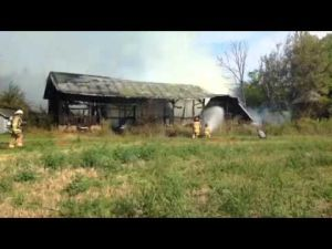 Shed fire on Highway 59
