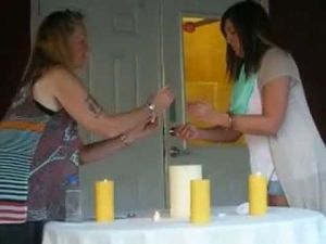 Christine Walters candle lighting