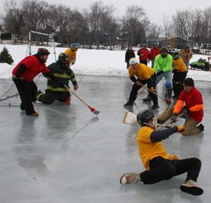 Broomball action at festival