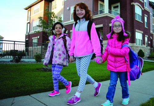 Creekside students walk to school