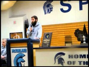 Coach Nick Weiss recognition rally  speech