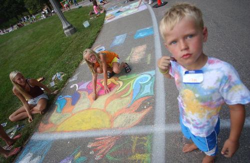 Chalk designs on walk in Village Park