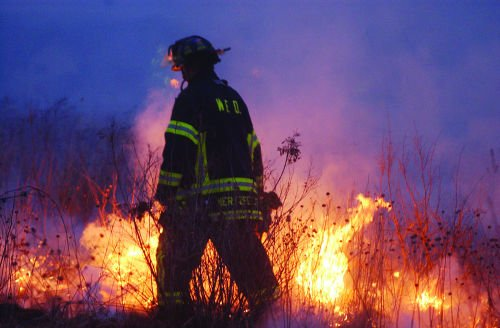 Controlled grass fire