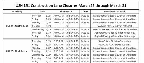 First 151 Construction Update describes closures, scheduled work