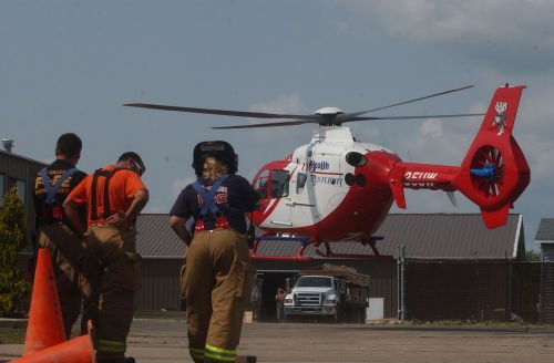 Medflight lands for injured worker on Linnerud