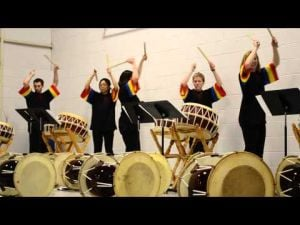 Korean Drumming Ensemble -- UW-LaCrosse -- All-School Assembly, Windsor, 4-10-13
