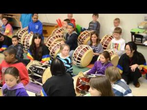 Korean Drumming  Ensemble, UW-LaCrosse, Eagle Point Elem School, 4th-graders
