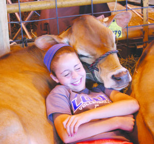 Joye Hellenbrand snuggles up to a cow at the Lodi Ag Fair