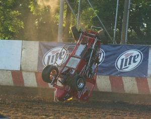 Smith flips midget at Angell Park Speedway