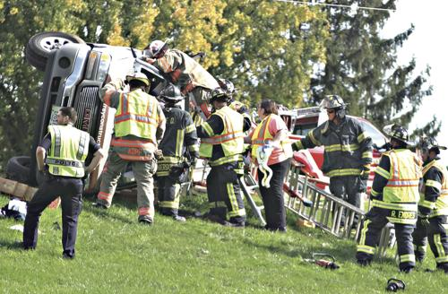 Rollover stops atop of hill