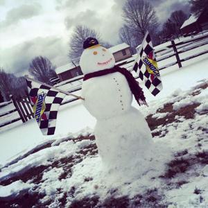 Racecar driver's snowman