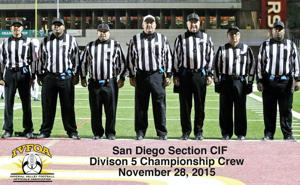 <p>FROM LEFT: Michael Garcia, Benny Carter, Shawn McLaughlin, John Seaman, Alan Phillips, Juan Leal and Gene Martin were part of the IVFOA's seven-man crew that called the CIF San Diego Section Div. V championship game. PHOTO COURTESY OF JOHN SEAMAN</p>