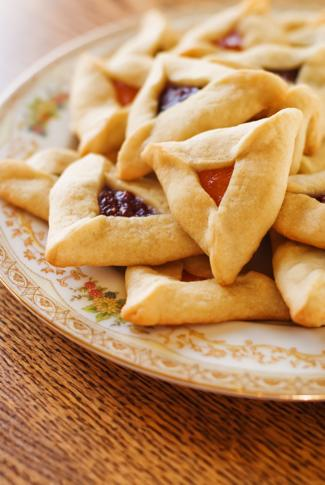 <p>Traditional hamantaschen cookies for the Jewish festival of Purim.</p>