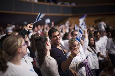 <p>Birthright Israel participants at an event held at the International Conference Center in Jerusalem, January 7, 2013.</p><p>(Yonatan Sindel/Flash90)</p>