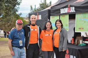 <p>Temple Emanuel of Tempe clergy, staff and community members volunteered their time at this year's Tempe Ironman. Pictured, from left, are team captain Richard Coven, Rabbi Jason Bonder and his wife Rina Lebovitz, and Coven's daughter, Beth Olson, Emanuel's immediate-past executive director. Bonder completed the 2014 Louisville Ironman in just over 13 hours 16 minutes.      </p><p><span><em></em></span></p>