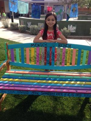 <p>Olivia, a third-grader at Pardes Jewish Day School, came up with the idea of having a Mensch Bench for fellow students who might be feeling a little lonely during recess.</p>