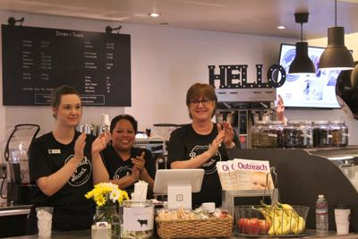 <p>Attending the March 3 grand opening ceremony of the Beneficial Beans Cafe at the Burton Barr Central Library are, from left, Andria Welty, Adriana Aguilar and Mandy Tomasello.</p>