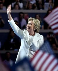 <p>Hillary Clinton acknowledges the crowd during the fourth day of the Democratic National Convention at the Wells Fargo Center in Philadelphia on July 28.</p><p>Jessica Kourkounis/Getty Images/JTA</p>
