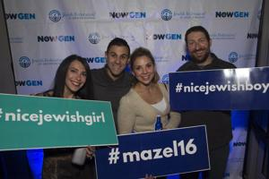 <p>Nearly 1,000 young Jews participated in the Jewish Fed- eration of Greater Phoenix NowGen 18th annual Mazel- palooza. The event, held on Christmas Eve, was hosted at Maya Day + Night Club. Entertainment included DJ Soloman and aerialist performers. Eighteen dollars from each ticket sold was contributed to the Federation's 2016 annual campaign. Pictured, from left, are Lauren Colick, Sean Kogan, Carly Glick and Adam Green.</p>
