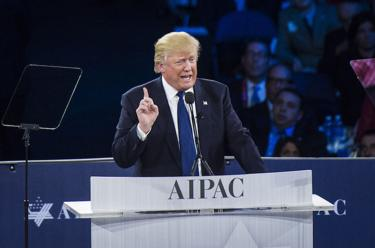 <p>Republican presidential candidate Donald Trump speaks during a campaign press conference at the American Israel Public Affairs Committee Policy Conference in Washington, D.C., on March 21.</p>